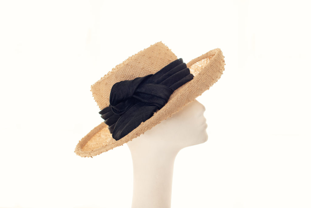 Natural, knotted sisal straw hat with black trim