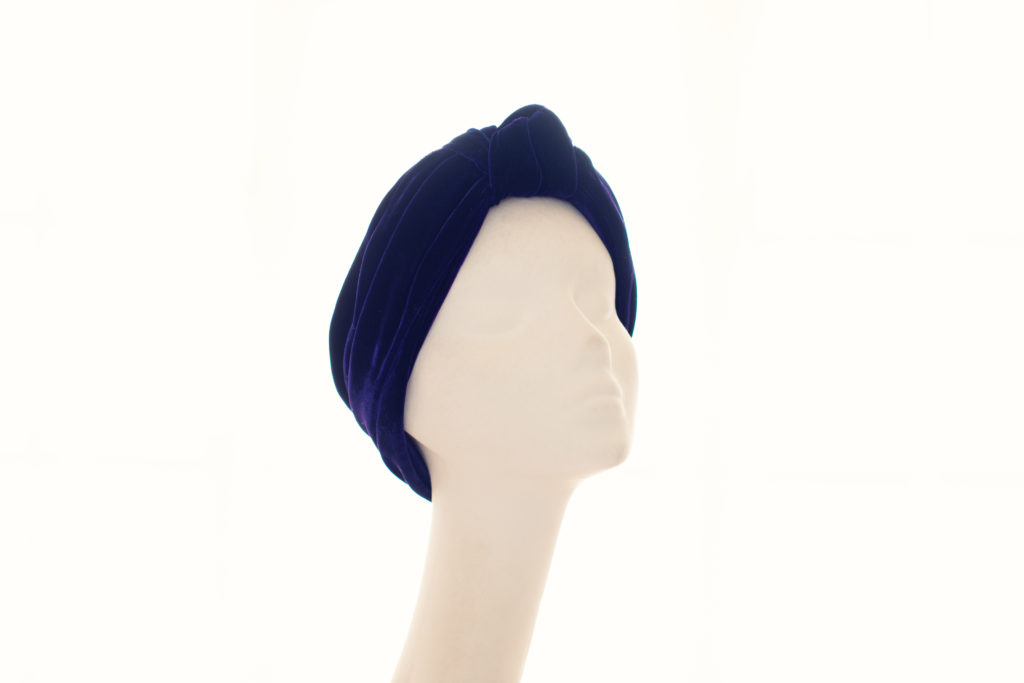 purple silk velvet turban band