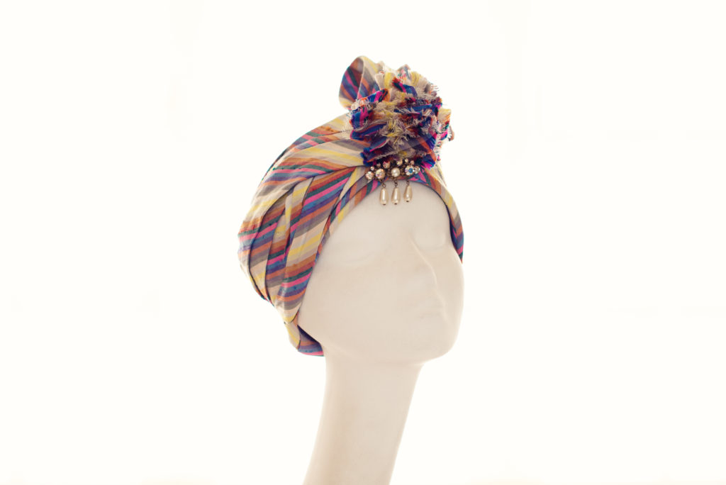 Multicoloured silk turban with drop pearl adornment