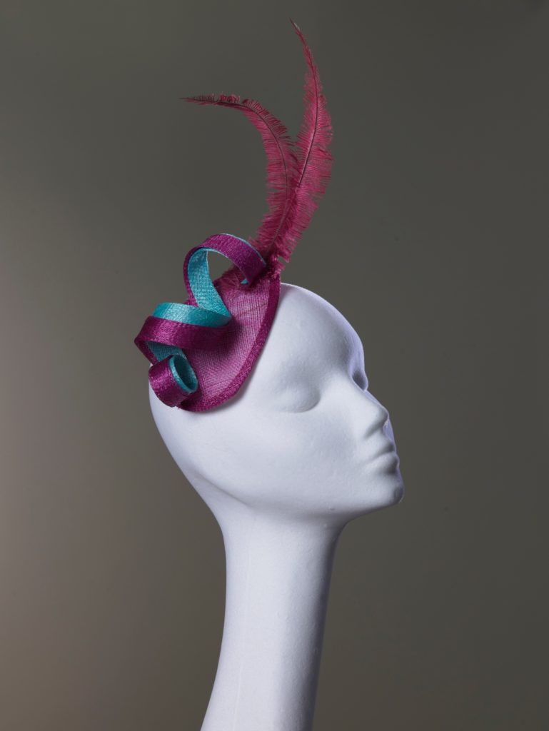 Pink sinamay fascinator with ostrich feathers