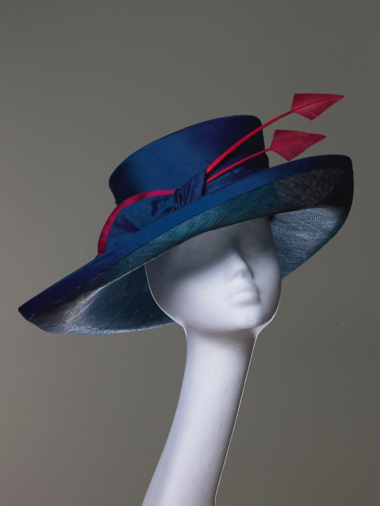 Blue silk and sinamay hat with arrowheads