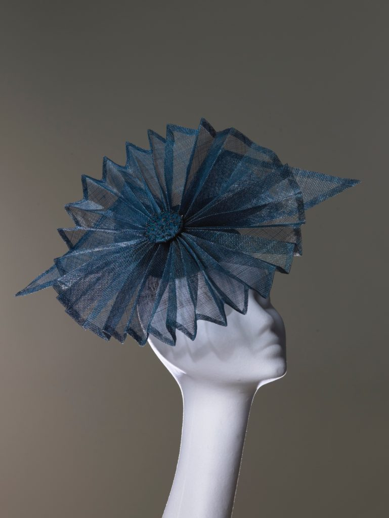 Teal pleated sinamay headpiece