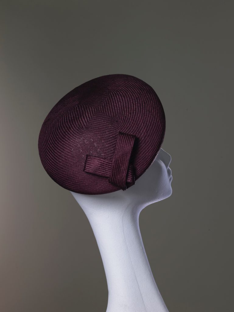 Burgundy parasisal straw beret rear view