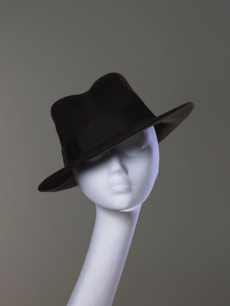 Chocolate brown felt fedora hat