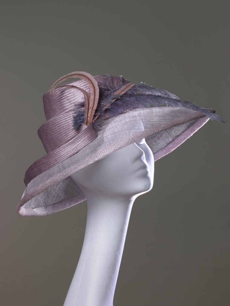 Pink parasisal straw and sinamay hat with ostrich feathers
