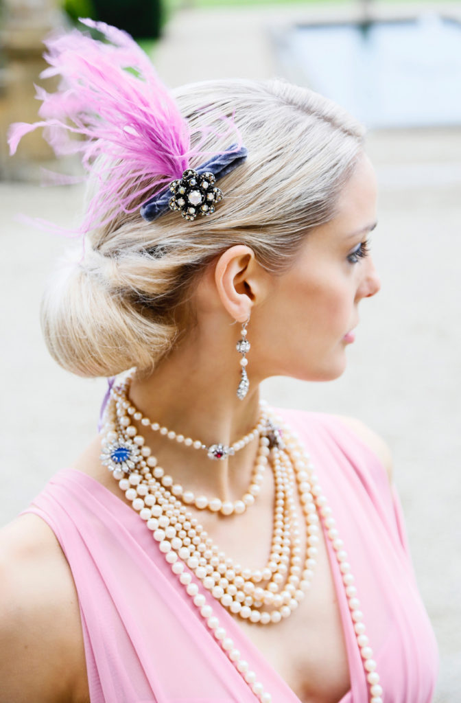 Pink ostrich feather and jewel headpiece