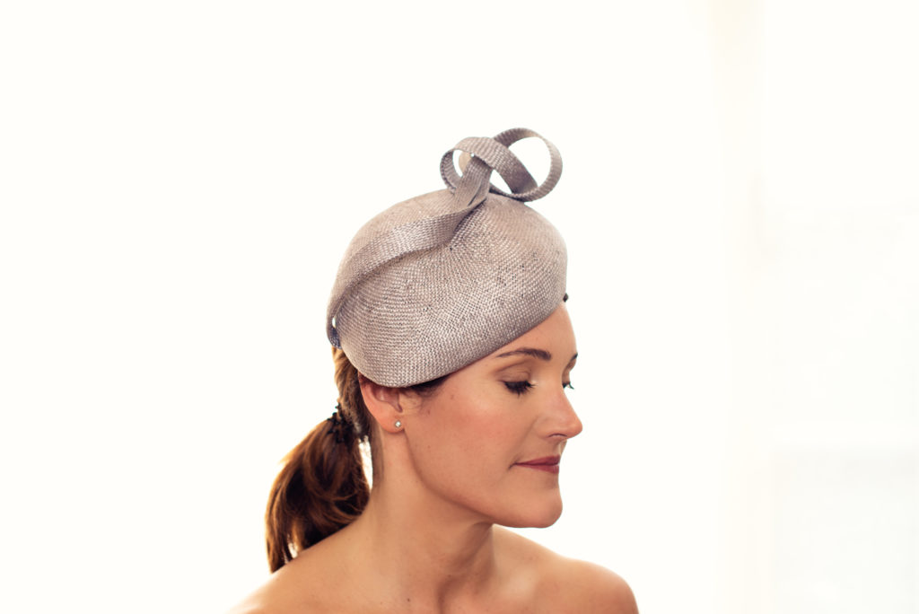 Grey sisal straw beret