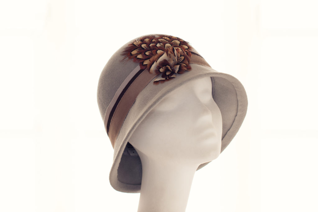 grey felt cloche with pheasant feathers
