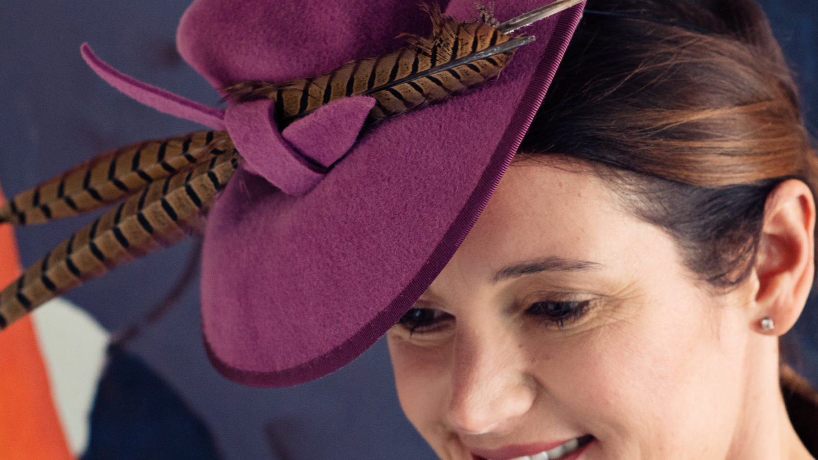 Purple Felt Hat with pheasant feather banner
