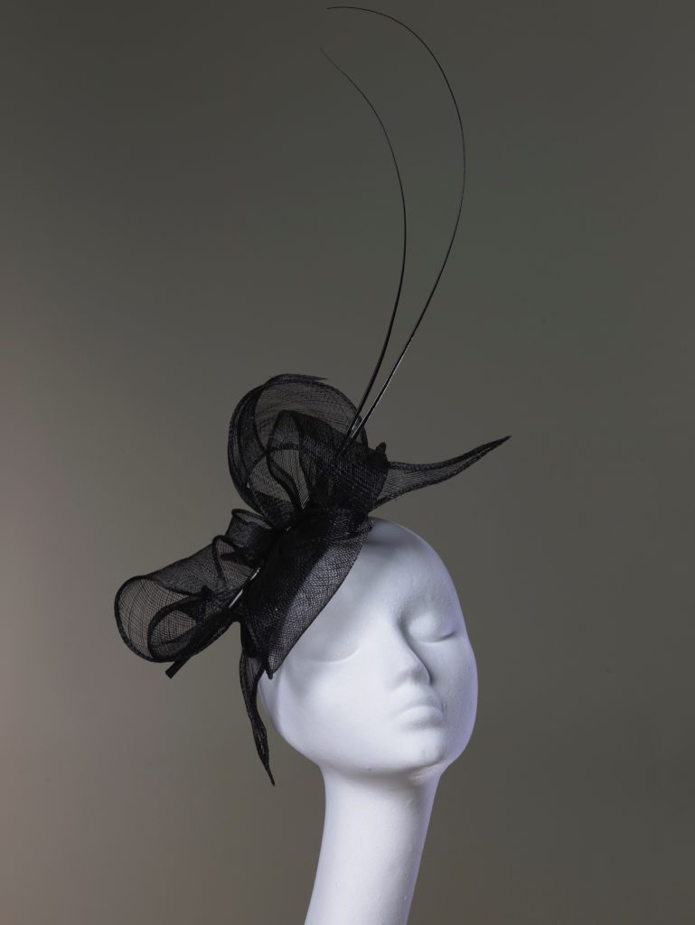 Black sinamay fascinator with quills