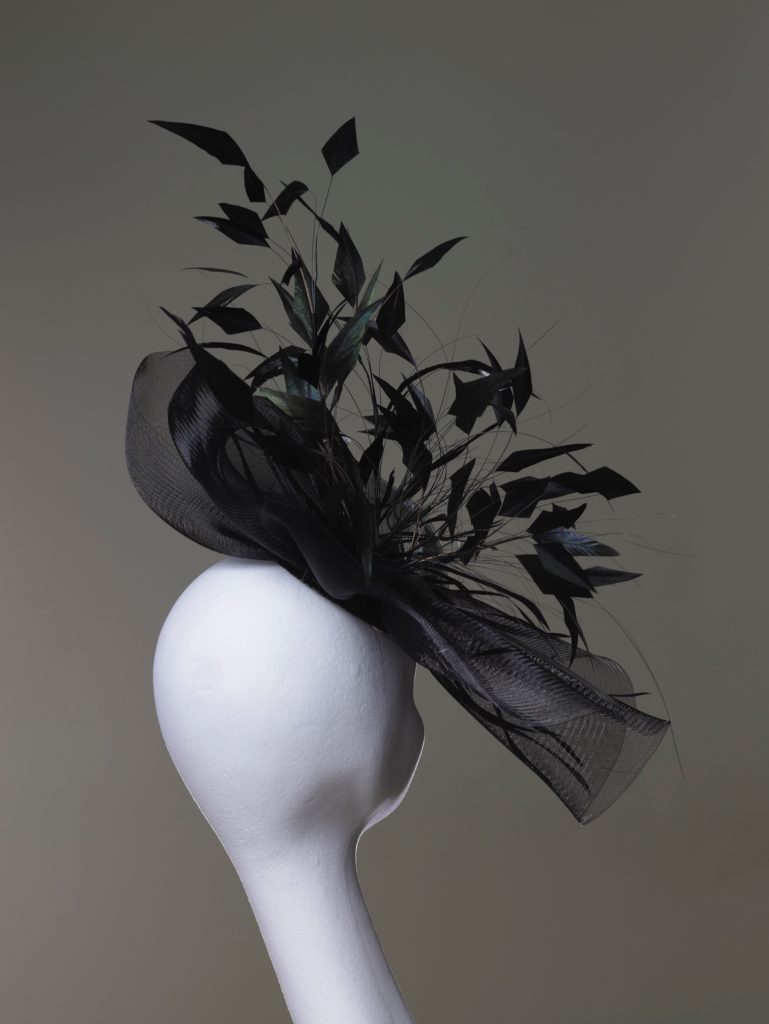 Jennie - Black crin headpiece with feathers rearview