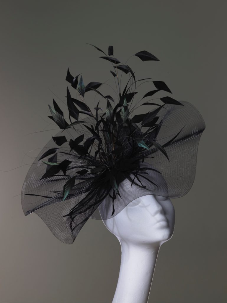 Black crin headpiece with feathers