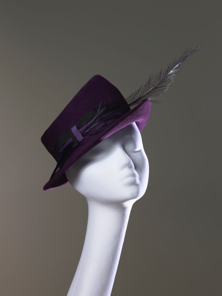 Purple felt hat with feather