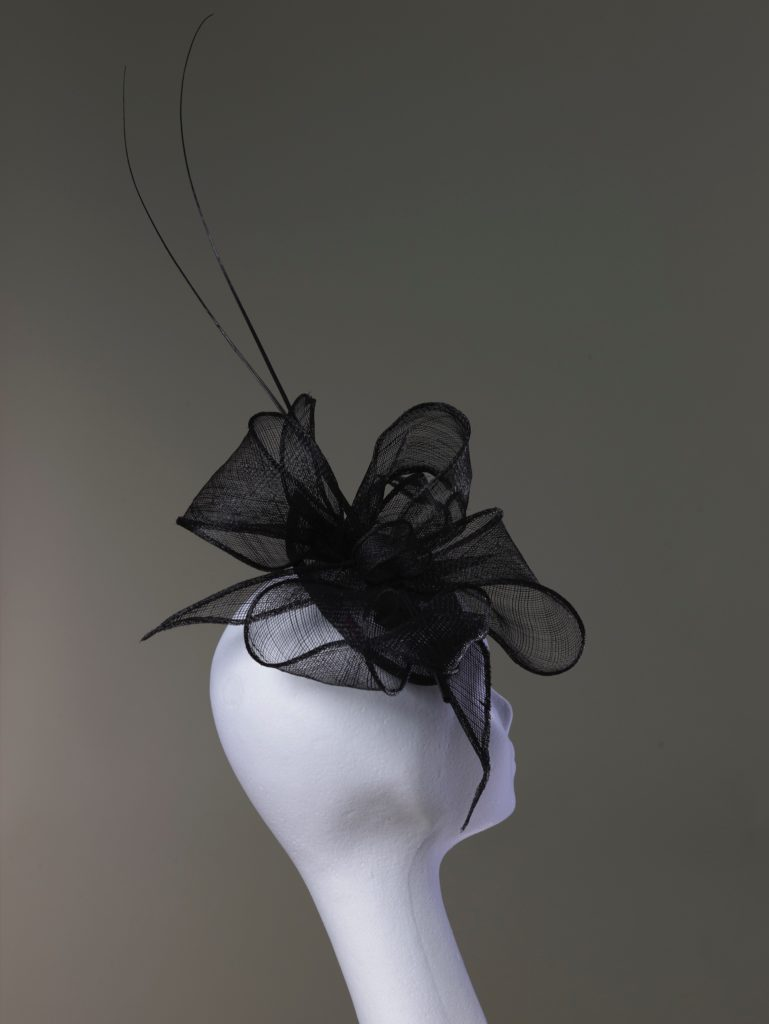 Black sinamay fascinator with quills rear view