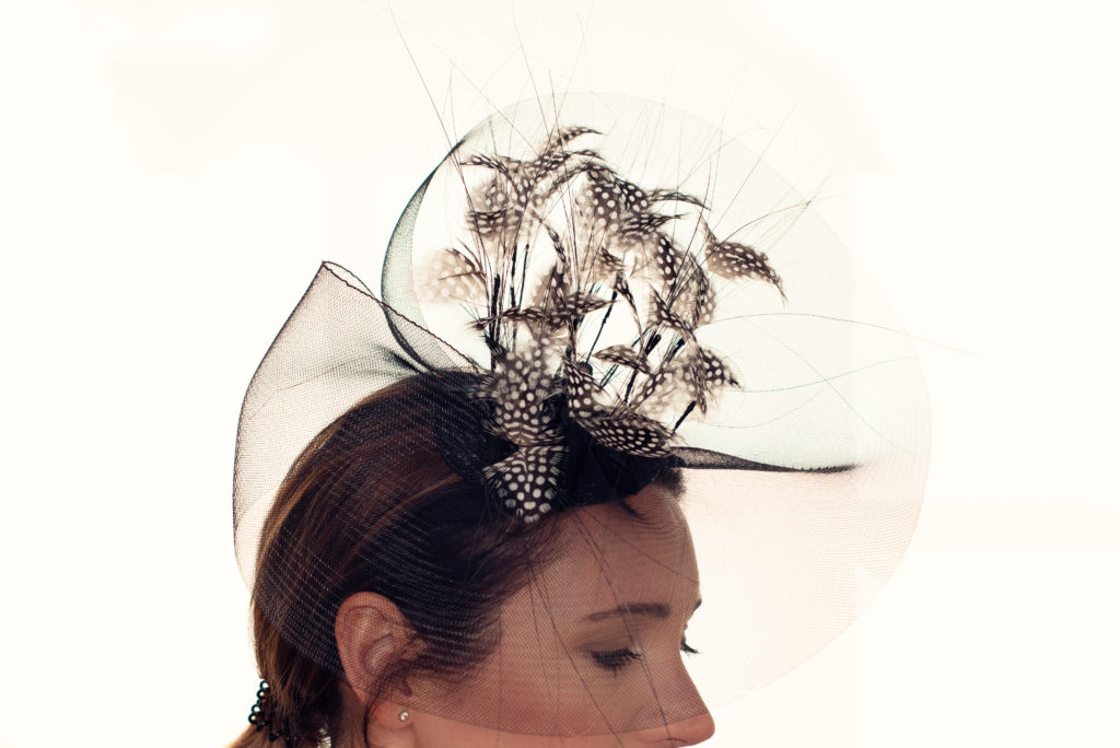 Black crin headpiece with guinea fowl feathers