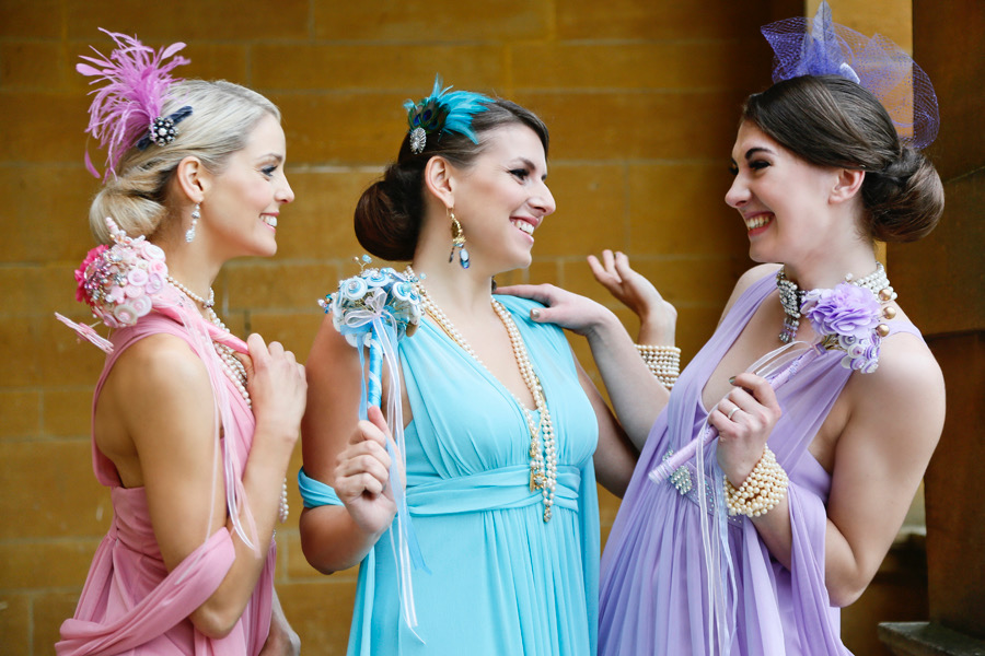 Bridesmaid fascinators Cinderella photoshoot