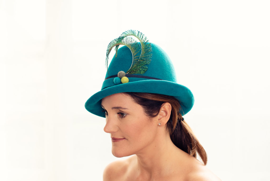 teal felt hat with pheasant feathers